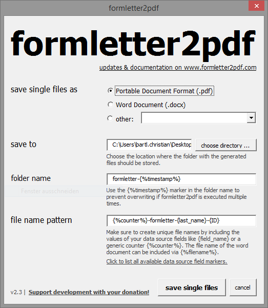 formletter2pdf Screenshot